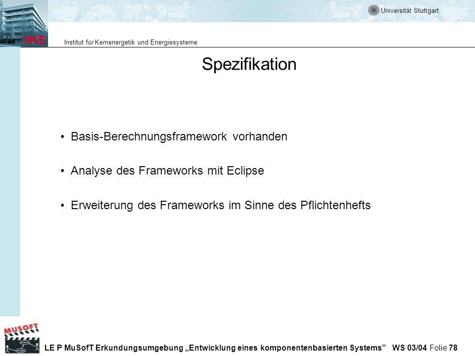 Spezifikation Basis-Berechnungsframework vorhanden