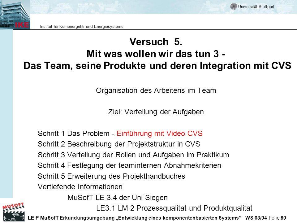 Versuch 5. Mit was wollen wir das tun 3 - Das Team, seine Produkte und deren Integration mit CVS