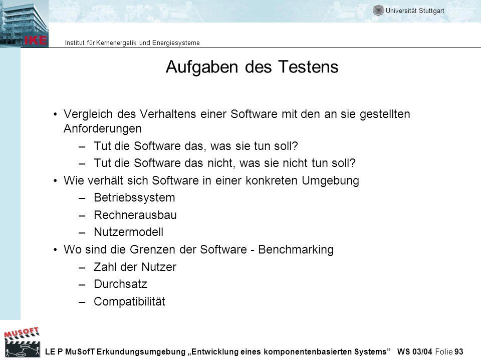 Aufgaben des Testens Vergleich des Verhaltens einer Software mit den an sie gestellten Anforderungen.