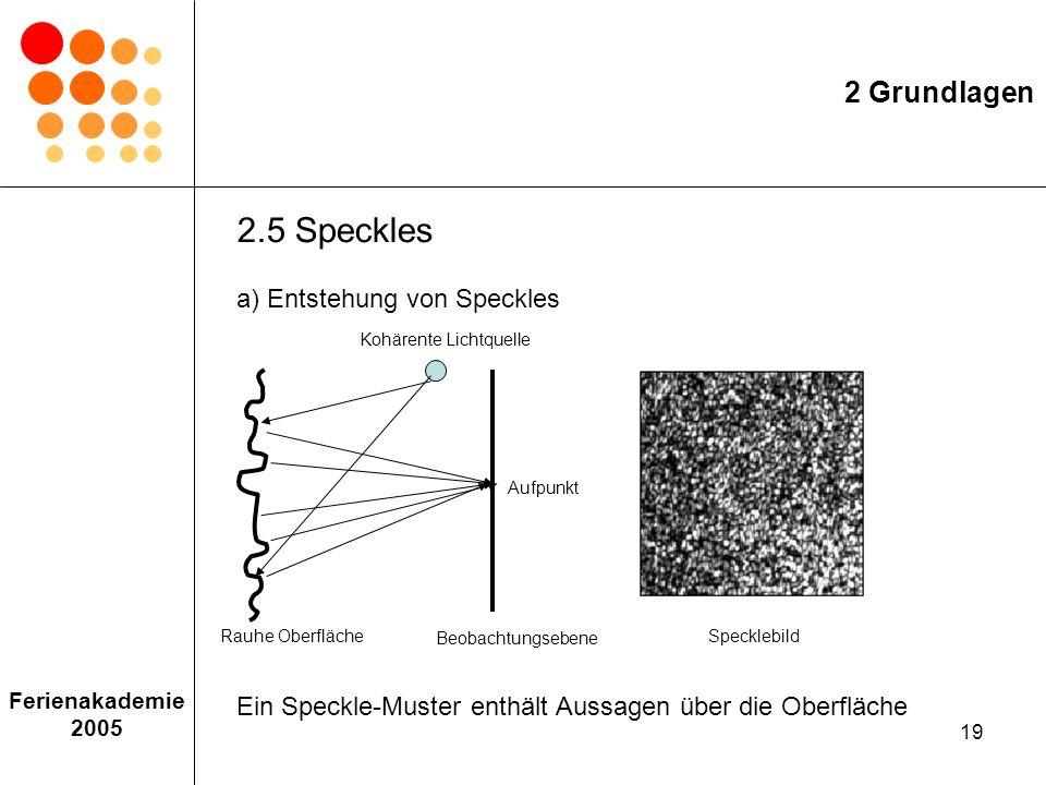 2 Grundlagen 2.5 Speckles a) Entstehung von Speckles Ein Speckle-Muster enthält Aussagen über die Oberfläche.