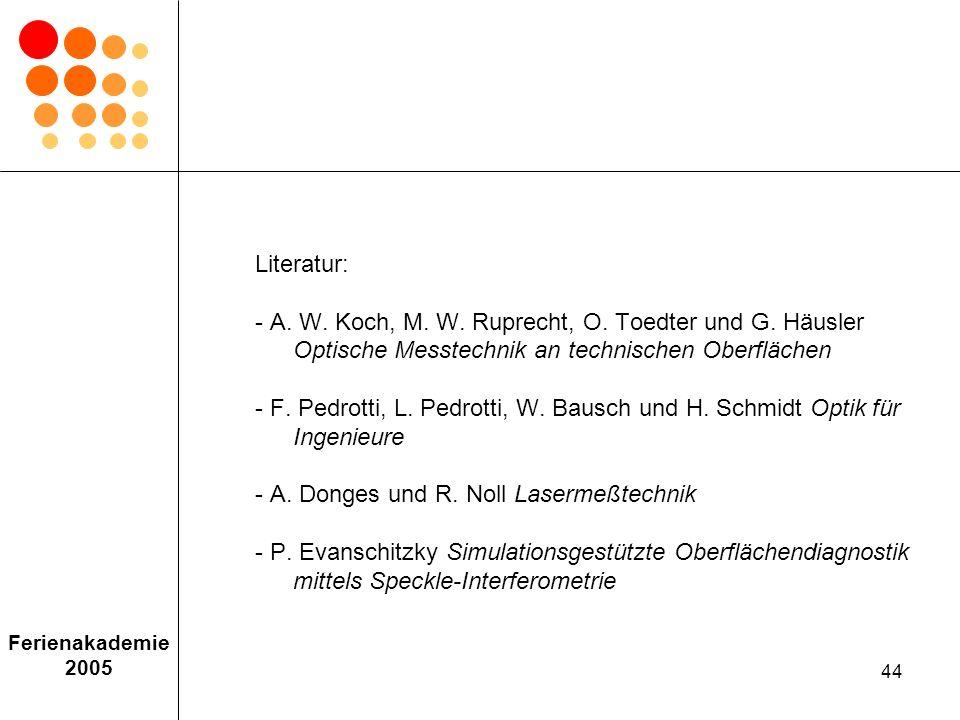 Literatur:. - A. W. Koch, M. W. Ruprecht, O. Toedter und G. Häusler