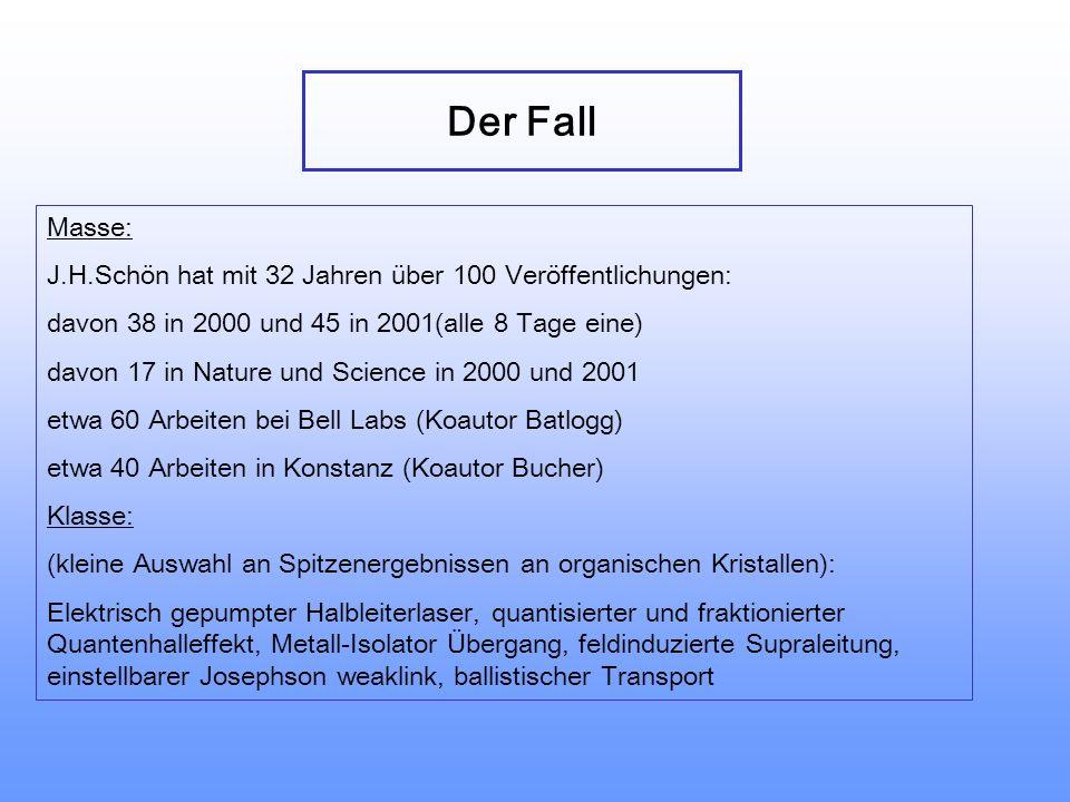 Der Fall Masse: J.H.Schön hat mit 32 Jahren über 100 Veröffentlichungen: davon 38 in 2000 und 45 in 2001(alle 8 Tage eine)