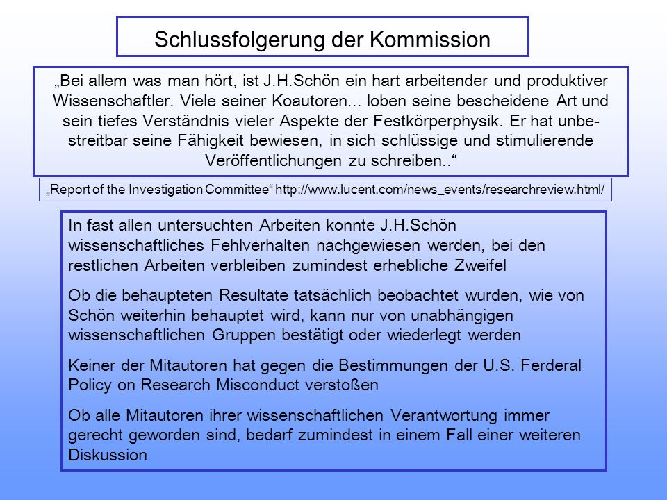 Schlussfolgerung der Kommission