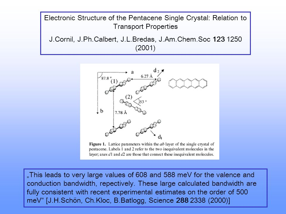 J.Cornil, J.Ph.Calbert, J.L.Bredas, J.Am.Chem.Soc 123 1250 (2001)