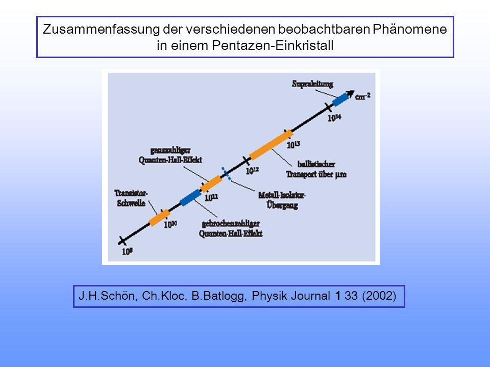 Zusammenfassung der verschiedenen beobachtbaren Phänomene in einem Pentazen-Einkristall