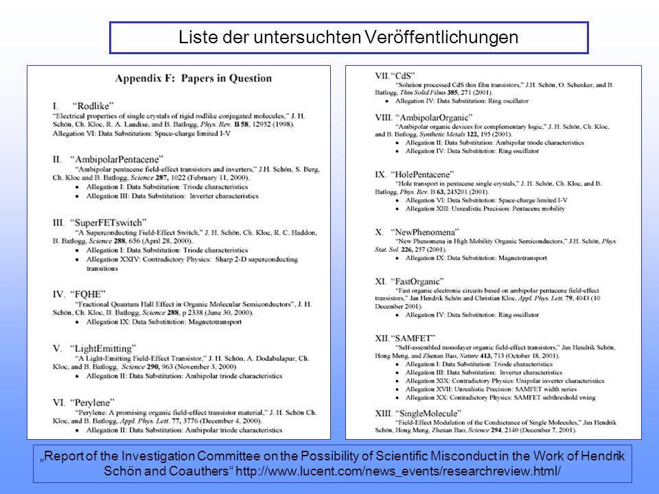 Liste der untersuchten Veröffentlichungen