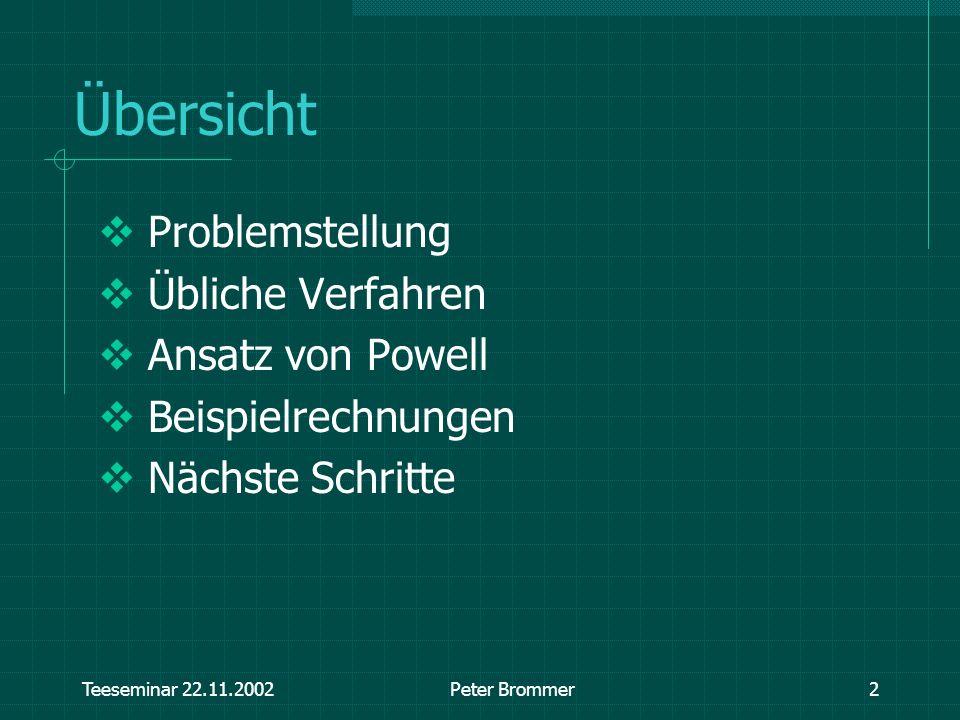 Übersicht Problemstellung Übliche Verfahren Ansatz von Powell