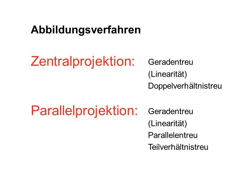 Zentralprojektion: Parallelprojektion: Abbildungsverfahren Geradentreu