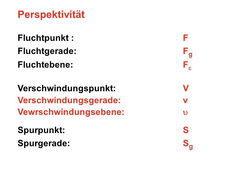 Perspektivität Fluchtpunkt : F Fluchtgerade: Fg Fluchtebene: Fe