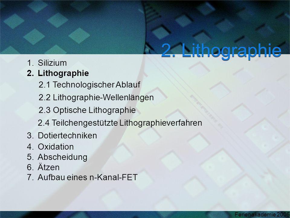 Silizium Lithographie. 2.1 Technologischer Ablauf. 2.2 Lithographie-Wellenlängen. 2.3 Optische Lithographie.