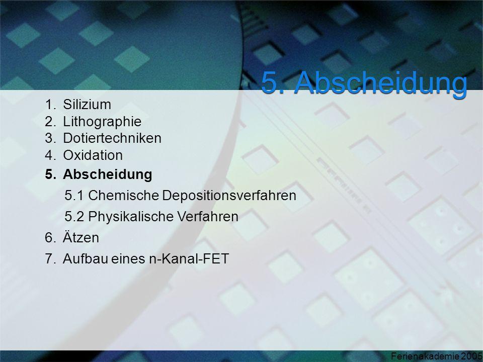 SiliziumLithographie. Dotiertechniken. Oxidation. Abscheidung. 5.1 Chemische Depositionsverfahren. 5.2 Physikalische Verfahren.