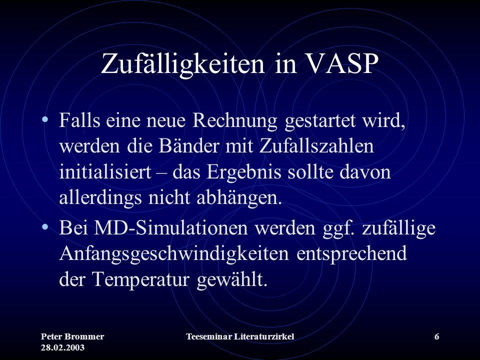 Zufälligkeiten in VASP