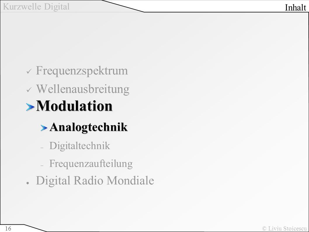 Modulation Frequenzspektrum Wellenausbreitung Analogtechnik