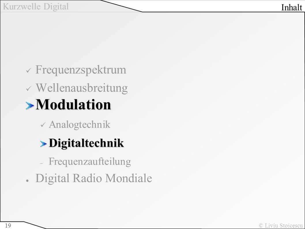 Modulation Frequenzspektrum Wellenausbreitung Digitaltechnik