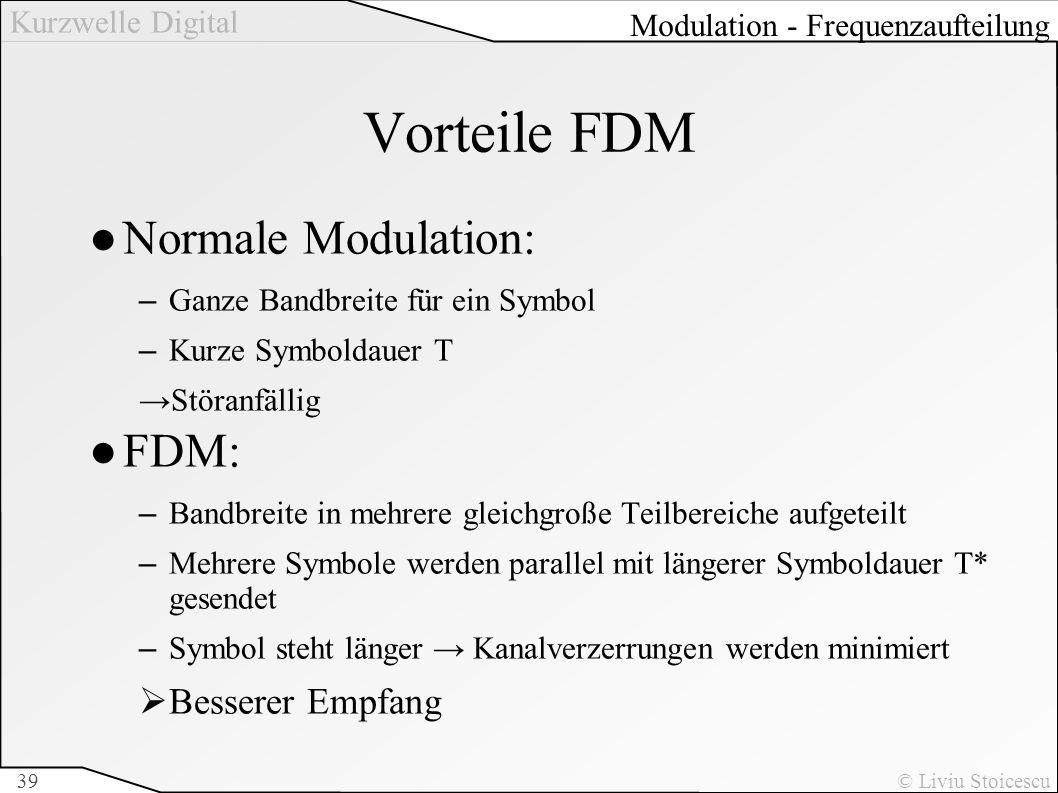 Vorteile FDM Normale Modulation: FDM: Besserer Empfang