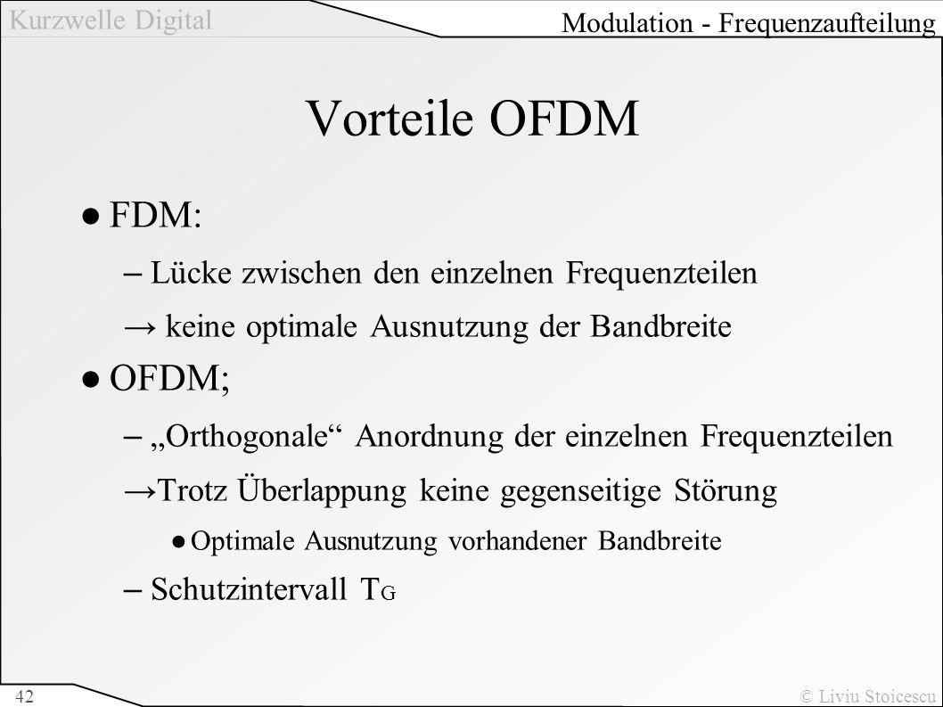 Vorteile OFDM FDM: OFDM; Lücke zwischen den einzelnen Frequenzteilen