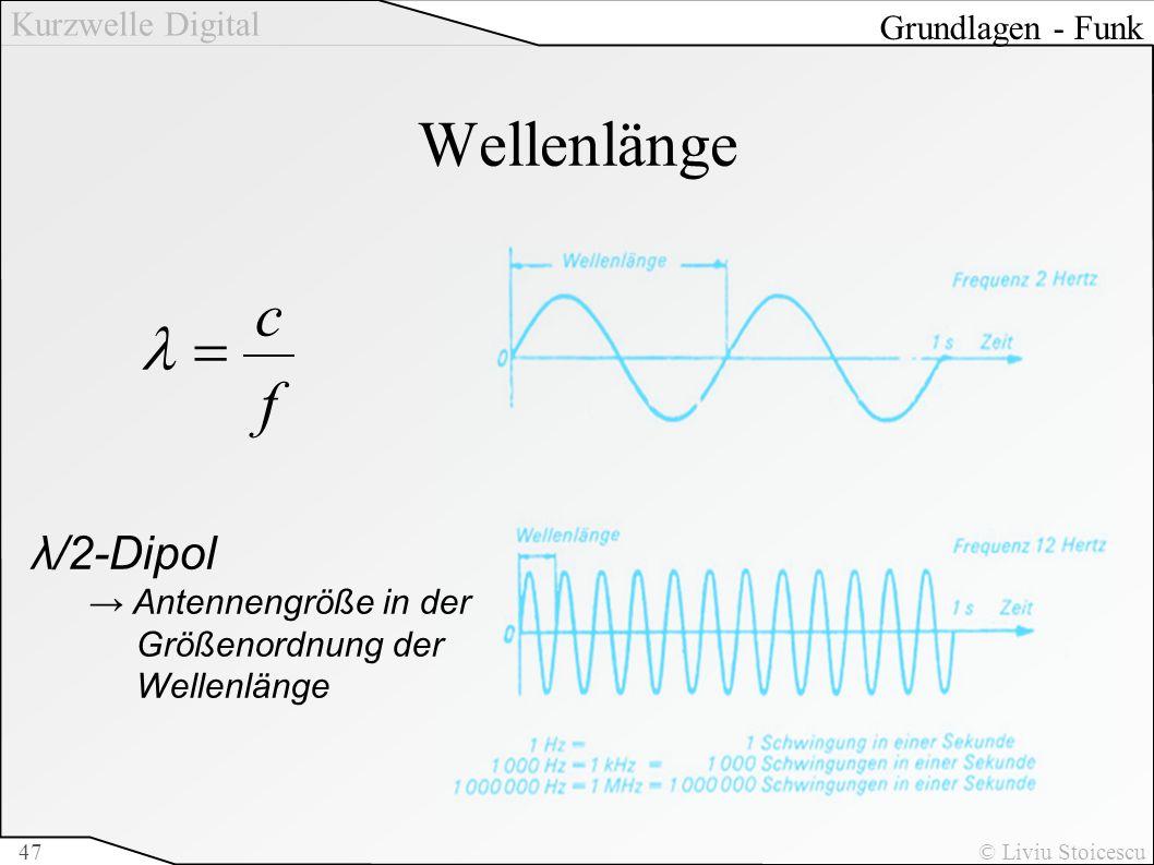Wellenlänge f c = l λ/2-Dipol Grundlagen - Funk → Antennengröße in der
