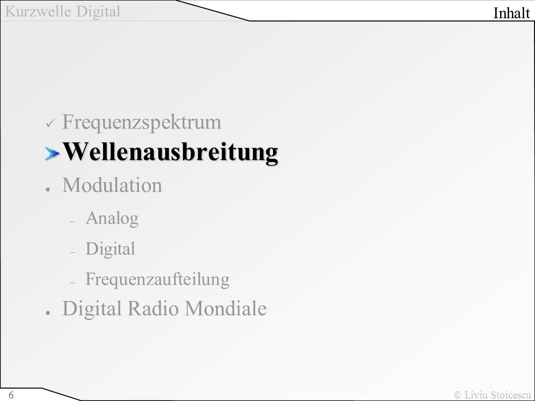 Wellenausbreitung Frequenzspektrum Modulation Digital Radio Mondiale