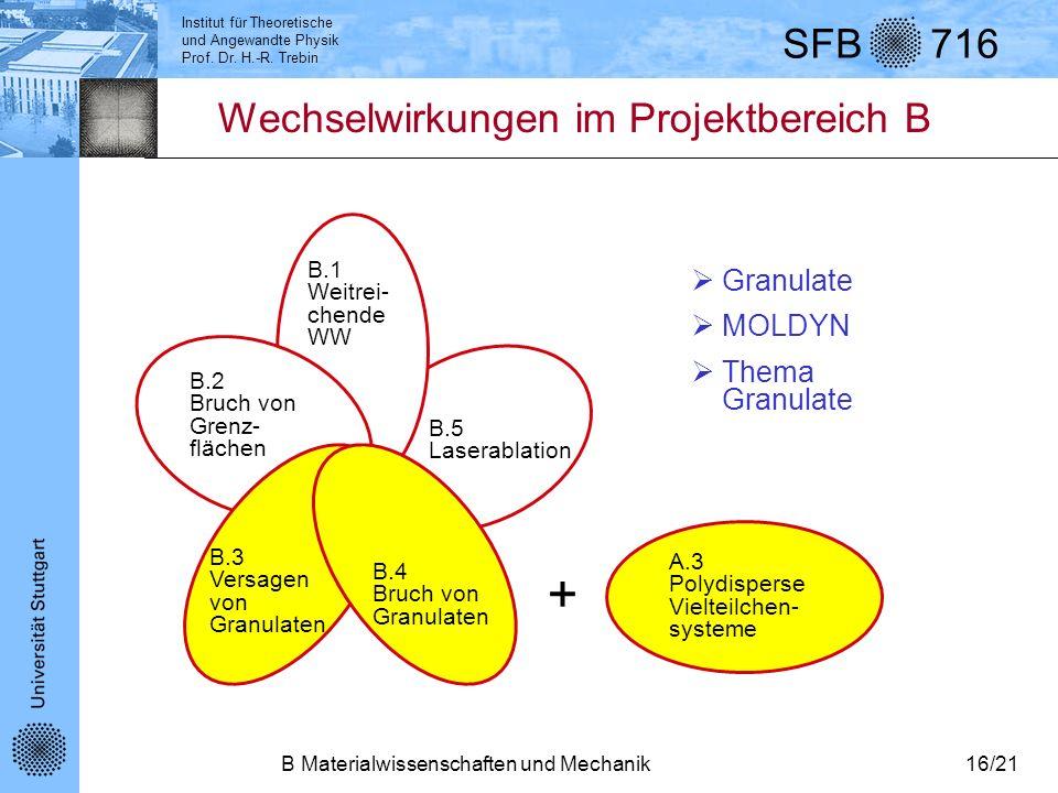 + Wechselwirkungen im Projektbereich B Granulate MOLDYN