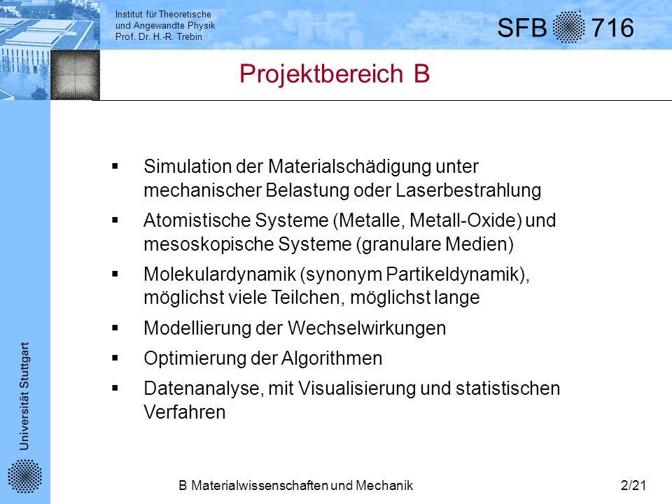 Projektbereich BSimulation der Materialschädigung unter mechanischer Belastung oder Laserbestrahlung.