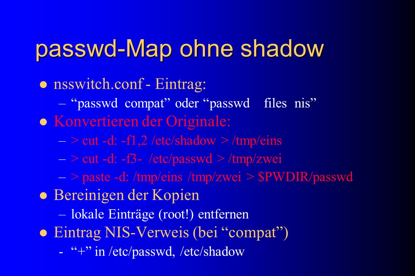 passwd-Map ohne shadow