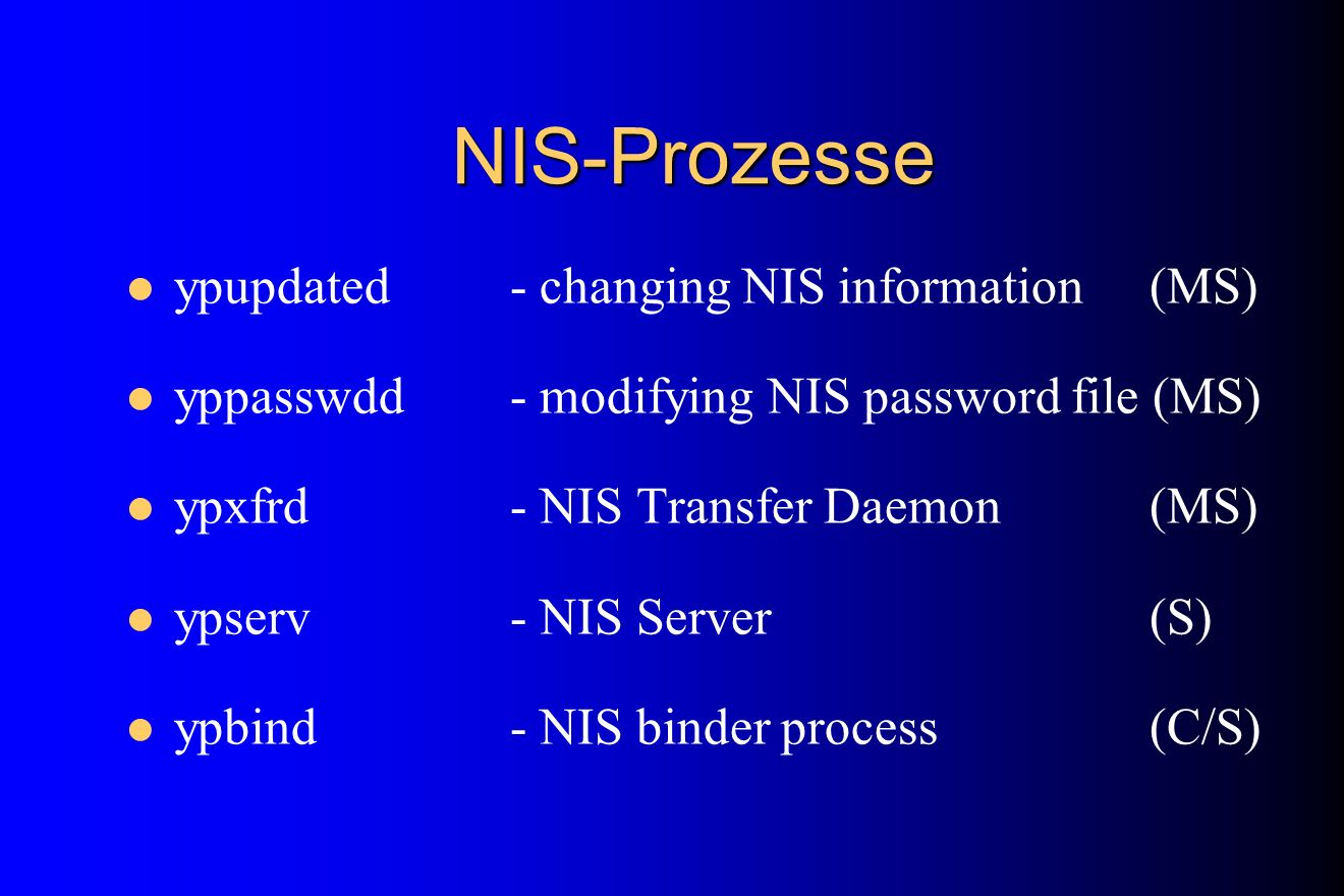 NIS-Prozesse ypupdated - changing NIS information (MS)