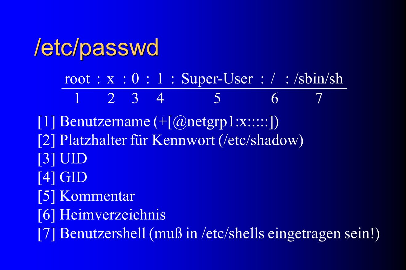/etc/passwd root : x 1 Super-User / /sbin/sh 2 3 4 5 6 7