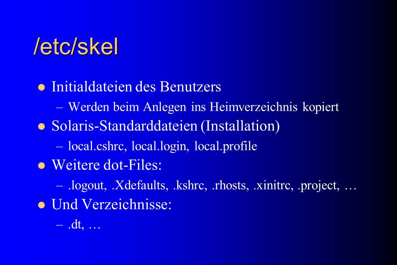 /etc/skel Initialdateien des Benutzers