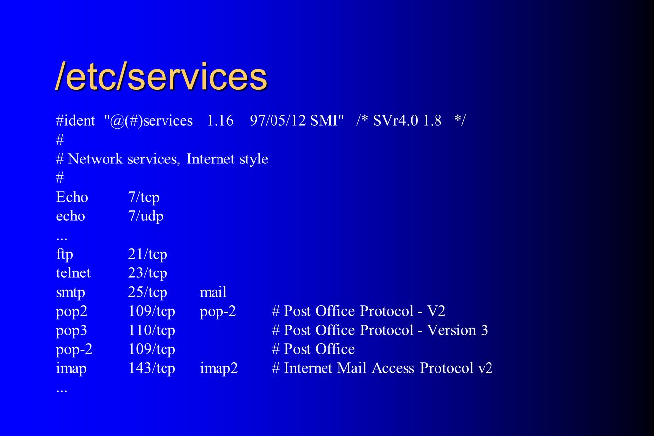 /etc/services /05/12 SMI /* SVr */