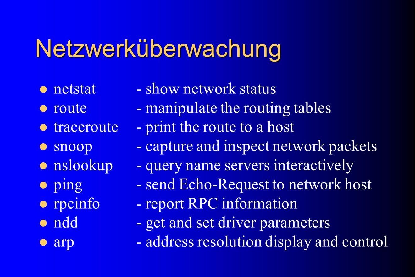 Netzwerküberwachung netstat - show network status