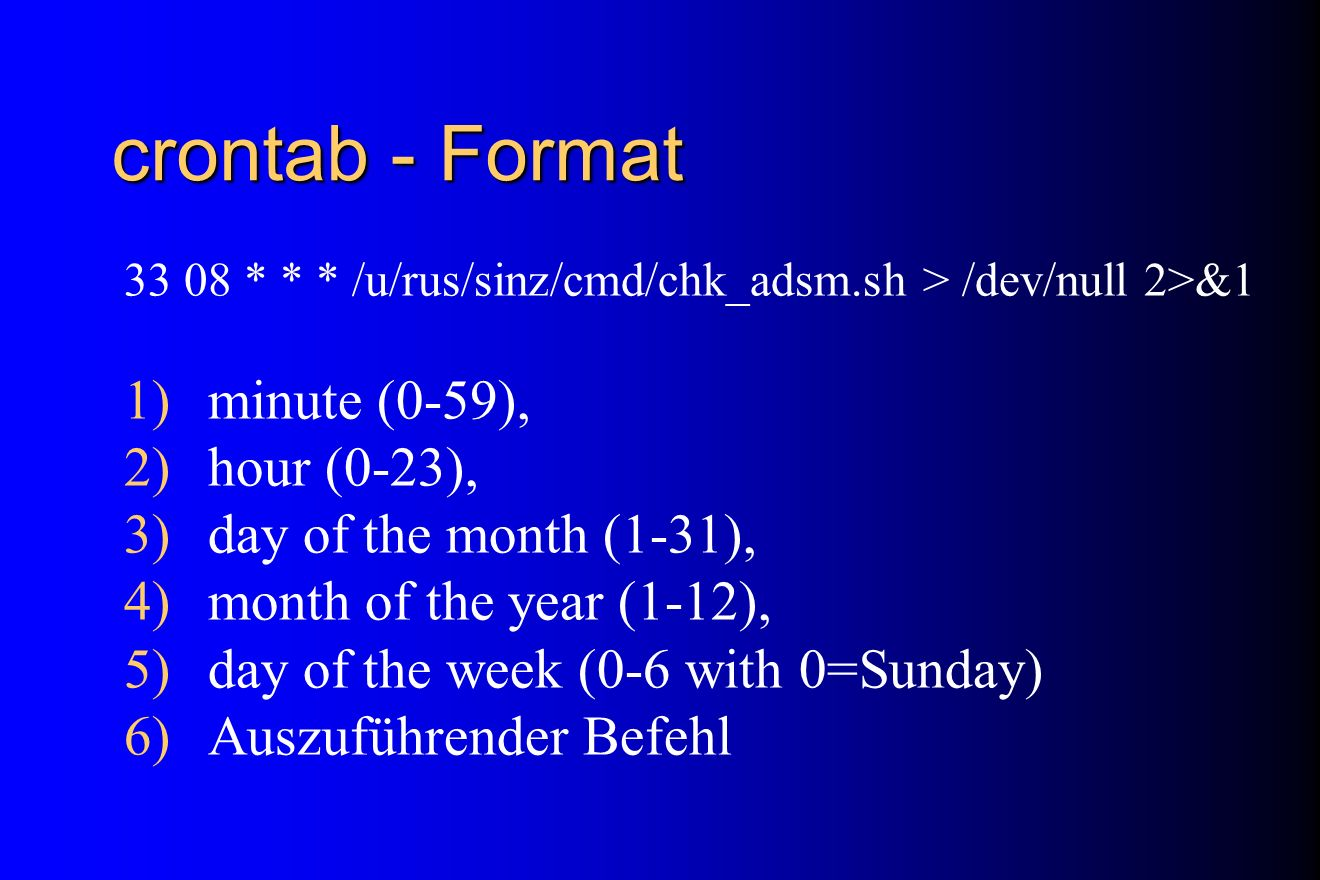 crontab - Format minute (0-59), hour (0-23), day of the month (1-31),