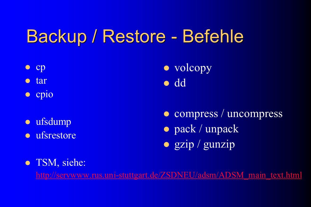 Backup / Restore - Befehle