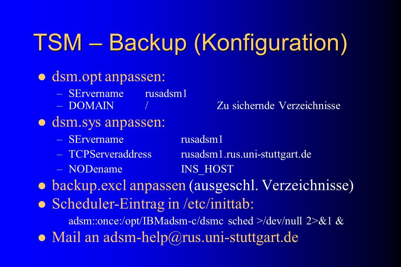 TSM – Backup (Konfiguration)