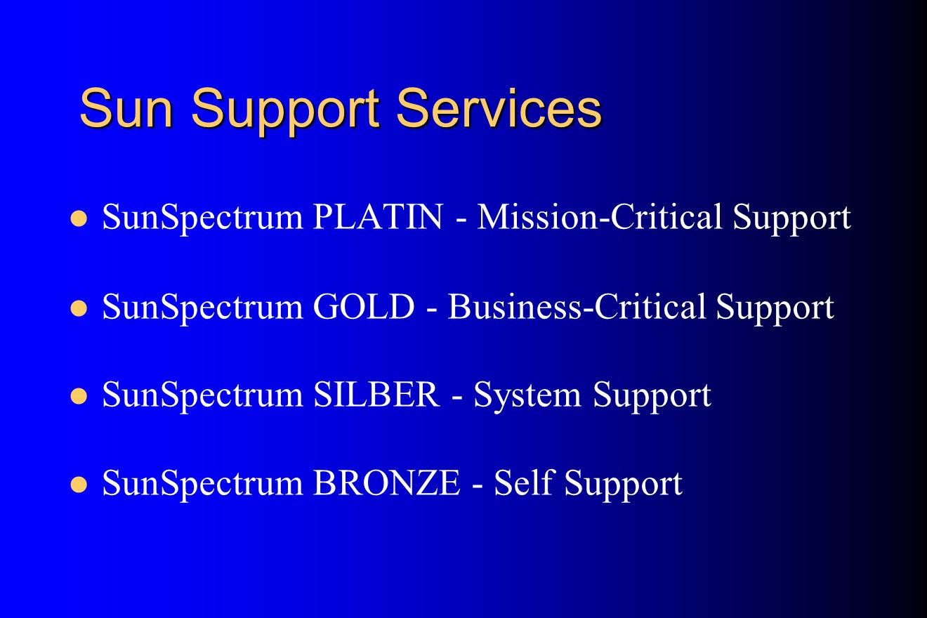 Sun Support Services SunSpectrum PLATIN - Mission-Critical Support