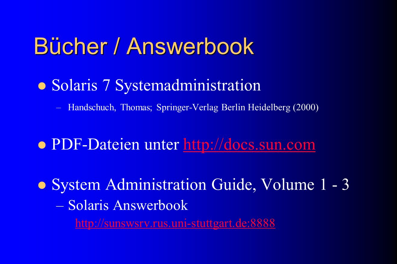 Bücher / Answerbook Solaris 7 Systemadministration