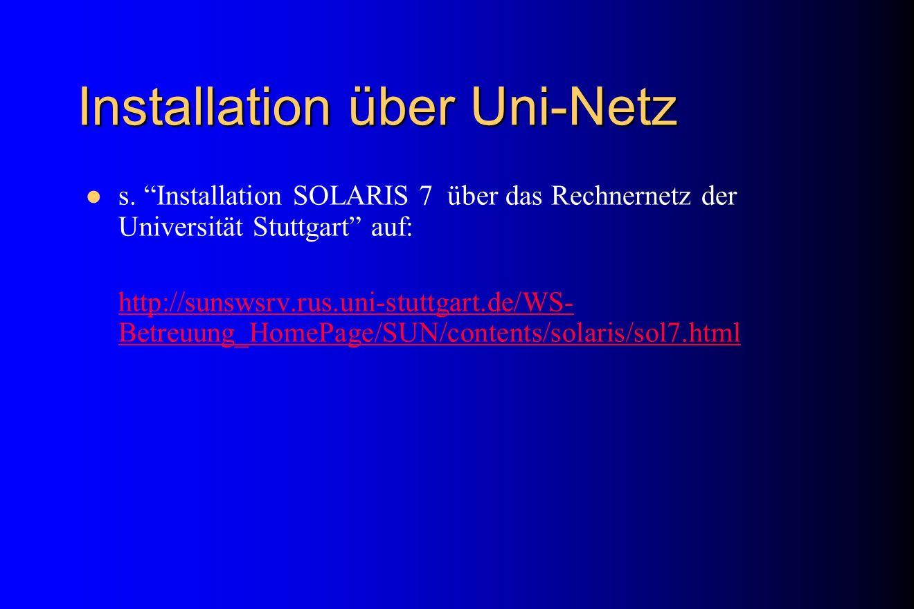 Installation über Uni-Netz