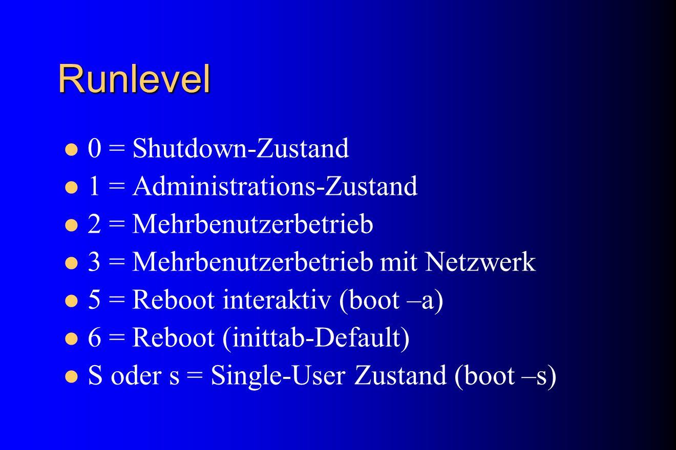 Runlevel 0 = Shutdown-Zustand 1 = Administrations-Zustand