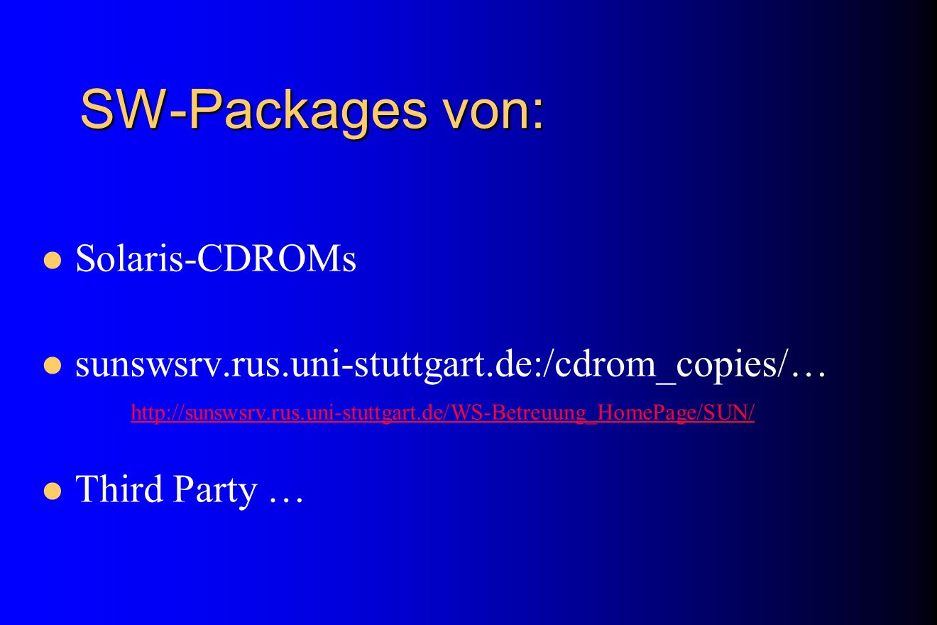 SW-Packages von: Solaris-CDROMs