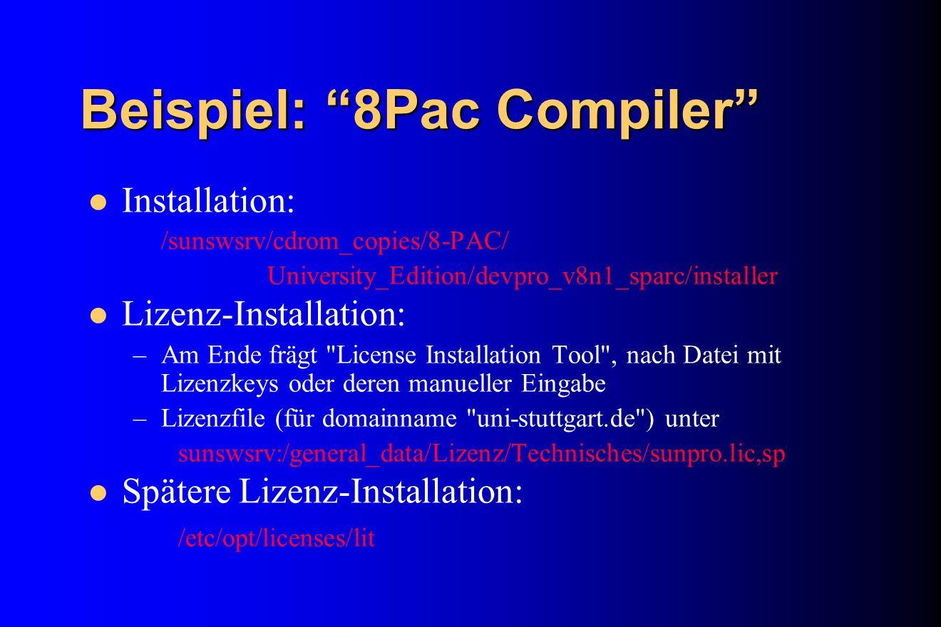 Beispiel: 8Pac Compiler
