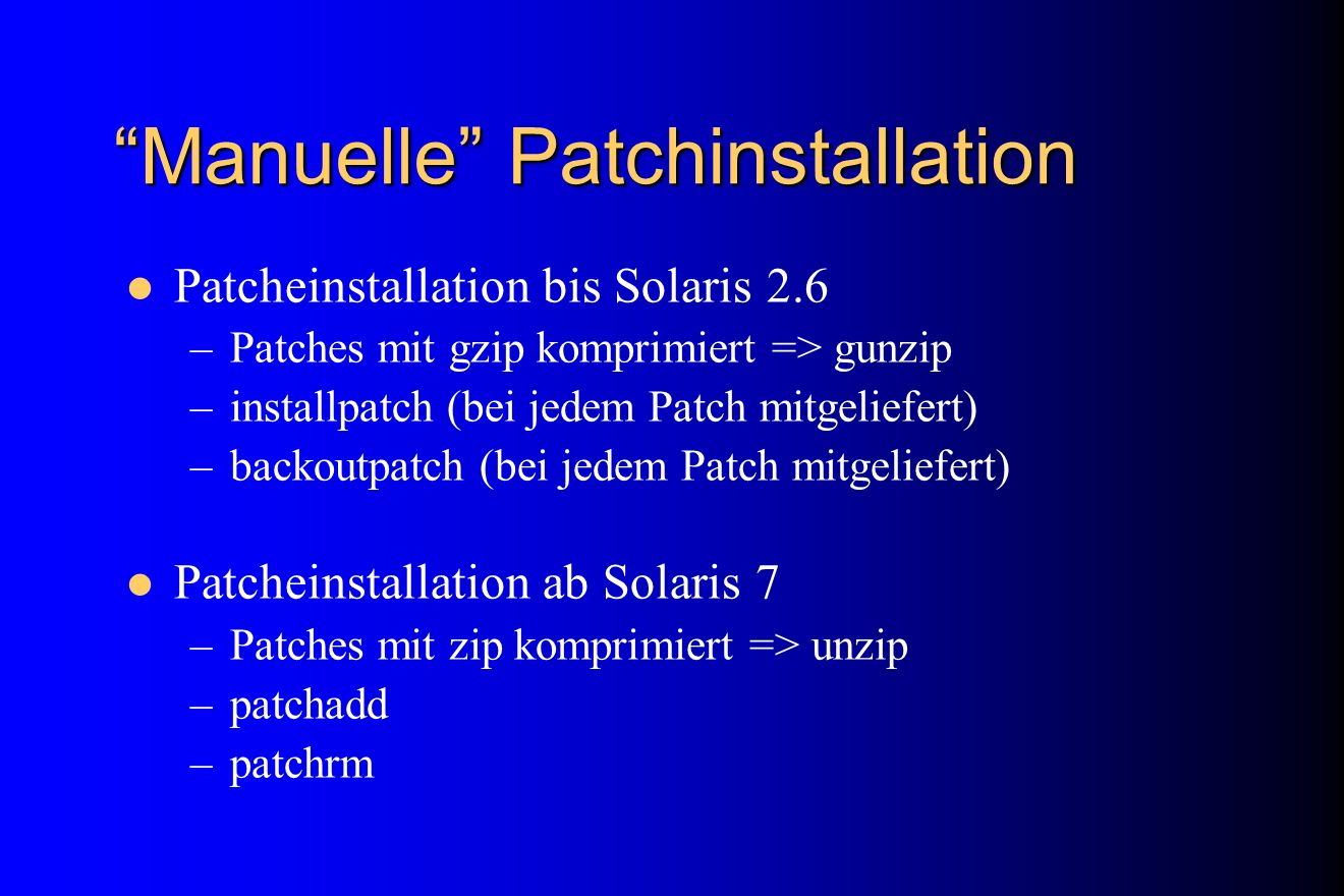 Manuelle Patchinstallation