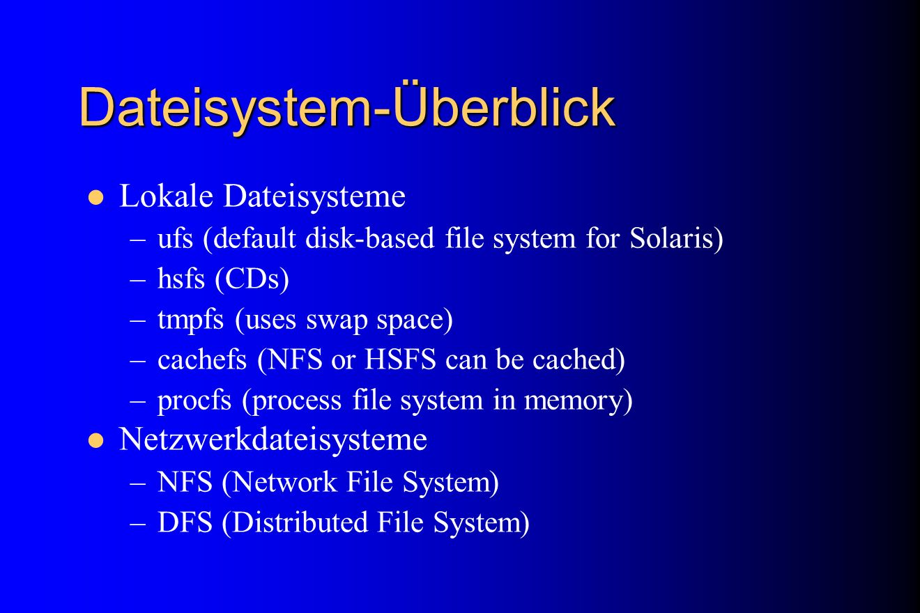 Dateisystem-Überblick