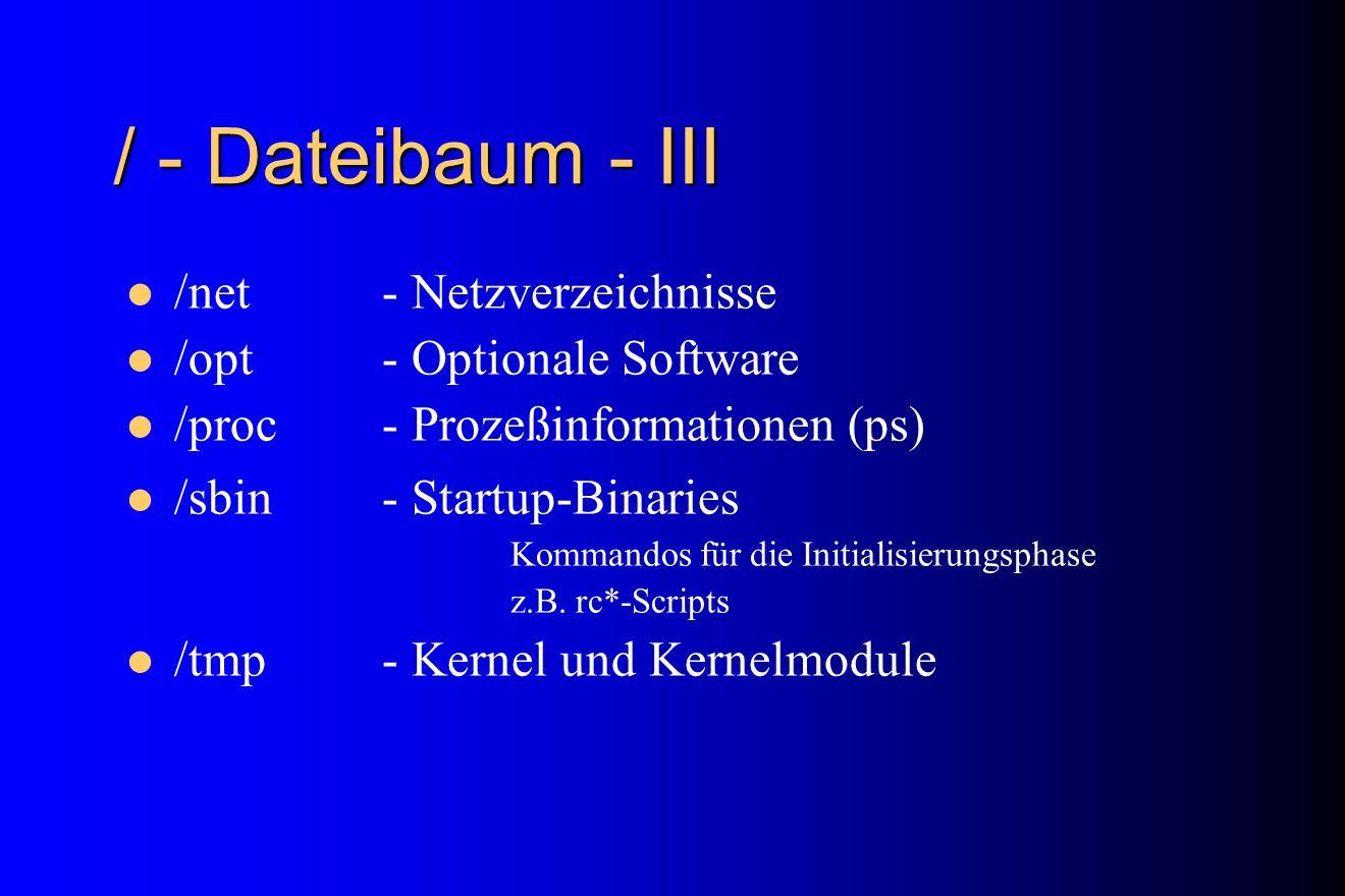 / - Dateibaum - III /net - Netzverzeichnisse /opt - Optionale Software