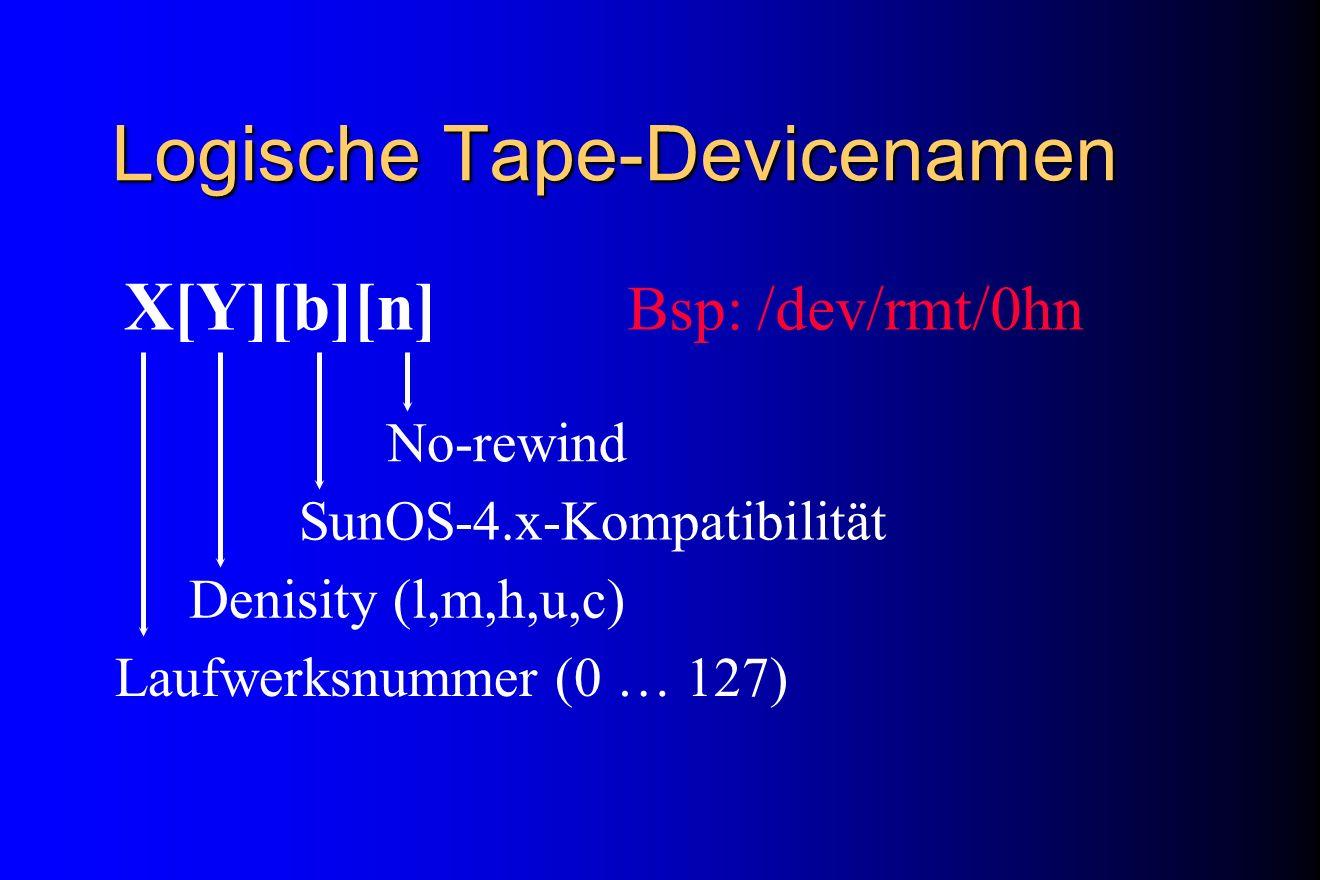 Logische Tape-Devicenamen