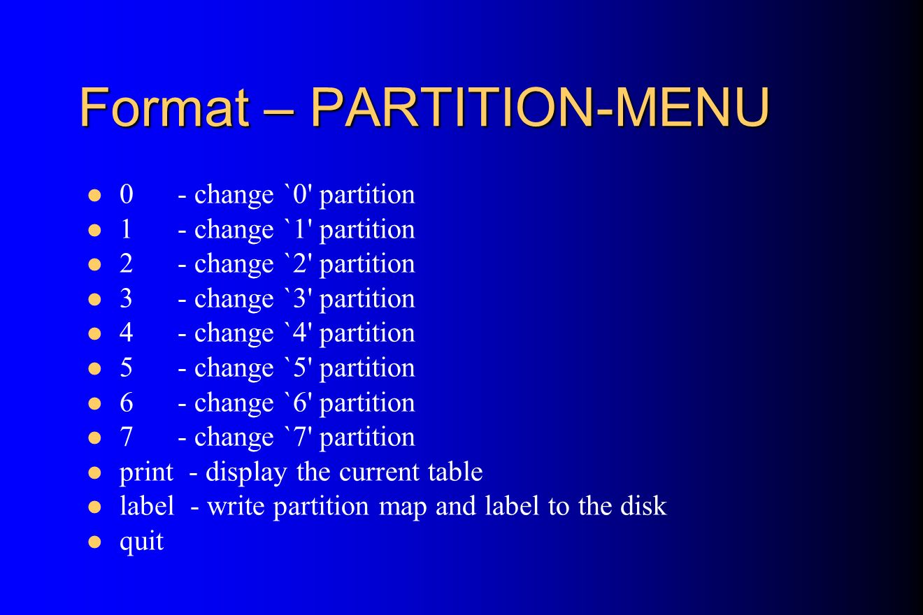 Format – PARTITION-MENU