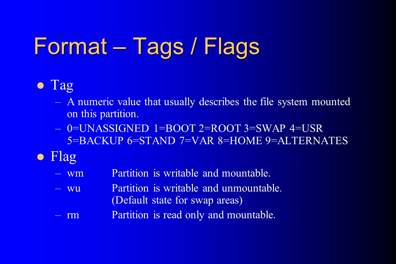 Format – Tags / Flags Tag Flag