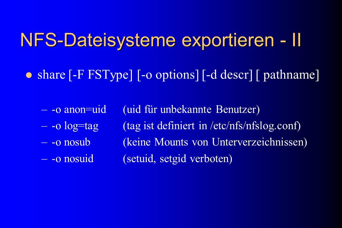 NFS-Dateisysteme exportieren - II