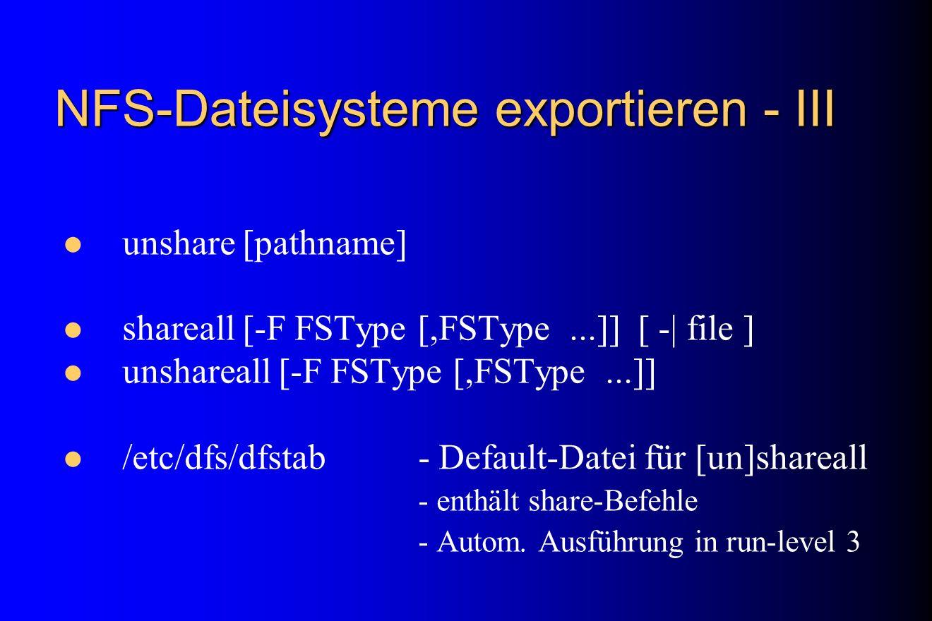 NFS-Dateisysteme exportieren - III