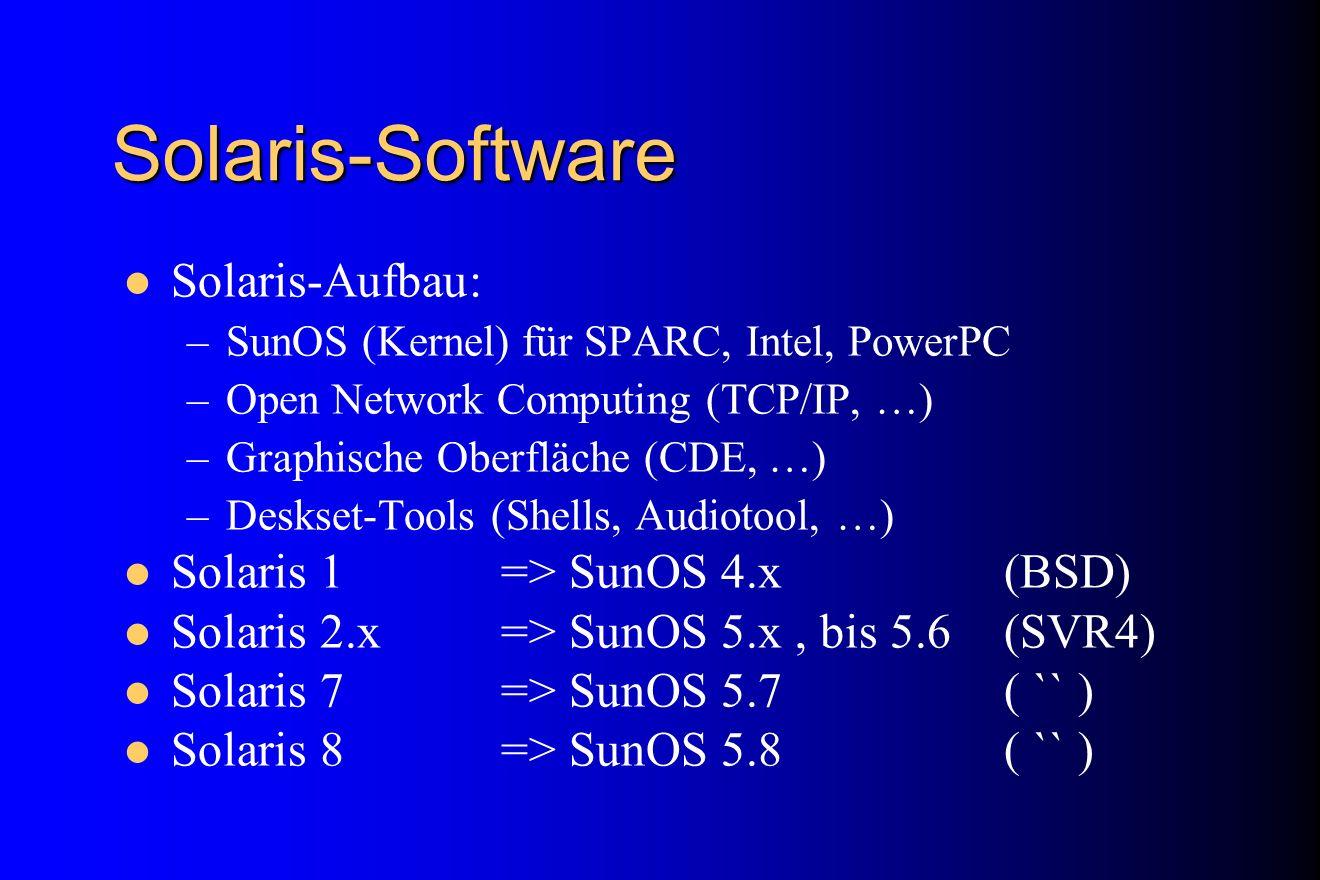 Solaris-Software Solaris-Aufbau: Solaris 1 => SunOS 4.x (BSD)