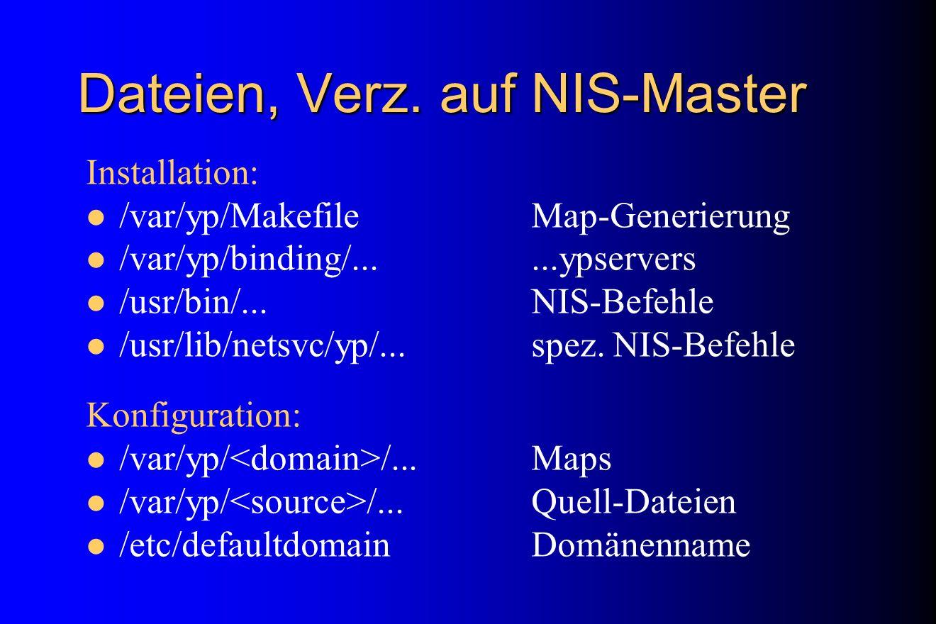 Dateien, Verz. auf NIS-Master