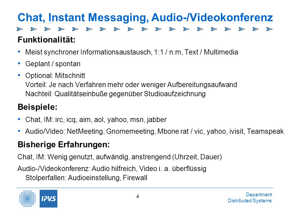 Chat, Instant Messaging, Audio-/Videokonferenz